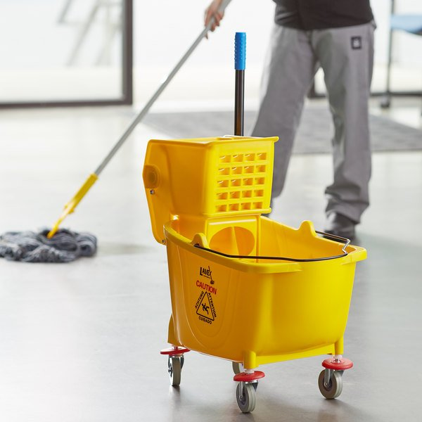 Lavex Janitorial 35 Qt. Yellow Mop Bucket & Side Press Wringer Combo