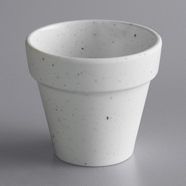 American Metalcraft MELPOTC2 2 oz. Terra Cotta Speckled White Melamine Pot