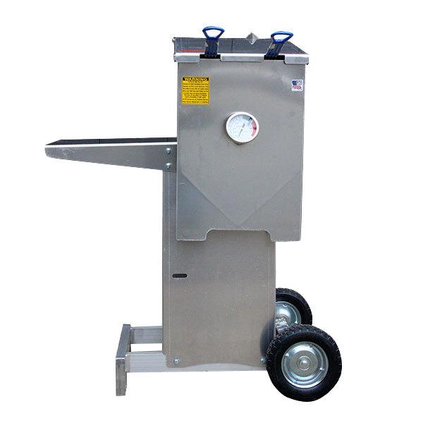 R & V Works FF2-S-AL-ST Aluminum 6 Gallon Liquid Propane Outdoor Cajun Deep Fryer with Stand - 90,000 BTU Main Image 1
