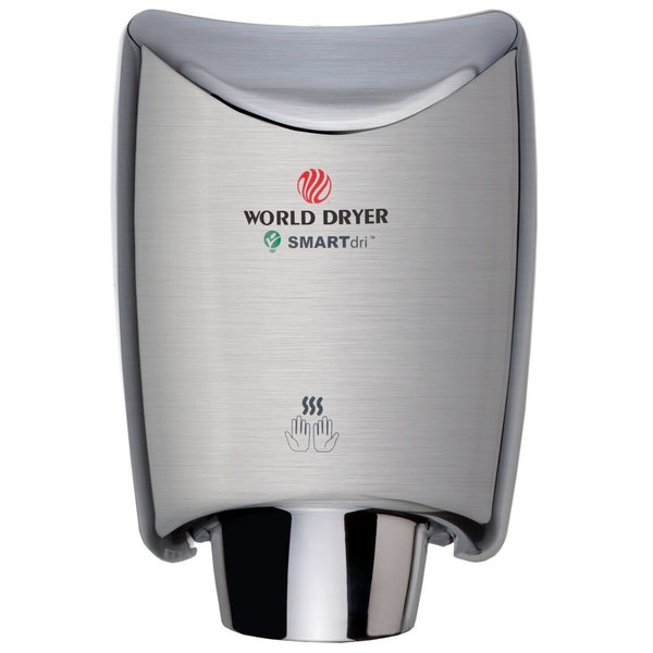 World Dryer K-972A2 SMARTdri Polished Stainless Steel Surface-Mounted Hand Dryer - 110-120V, 1200W Main Image 1