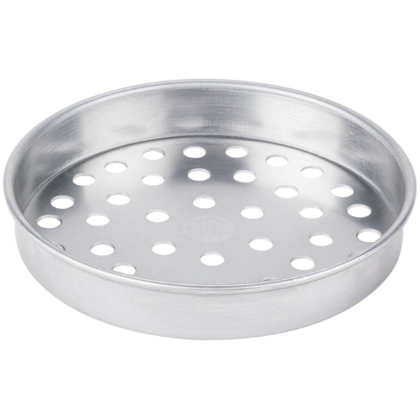"""American Metalcraft SPA4007 7"""" x 1"""" Super Perforated Standard Weight Aluminum Straight Sided Pizza Pan"""
