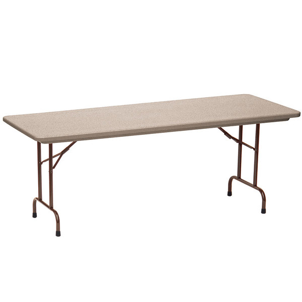 "Correll Folding Table, 30"" x 96"" Tamper-Resistant Plastic, Mocha Granite - RX3096"