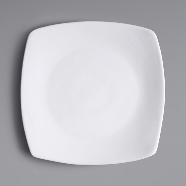 Acopa 8 3/4 inch Bright White Square Porcelain Coupe Plate - 24/Case