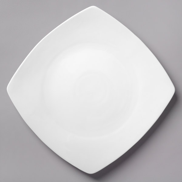 Acopa 11 inch Bright White Square Porcelain Coupe Plate - 12/Case