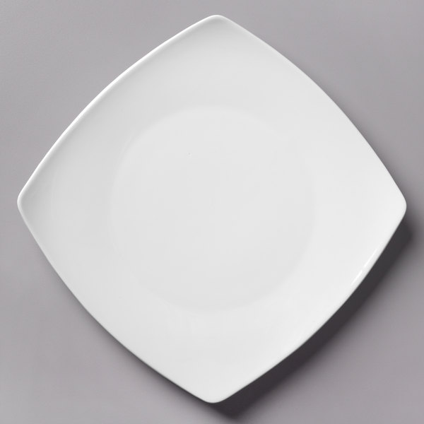 Acopa 10 1/4 inch Bright White Square Porcelain Coupe Plate - 12/Case