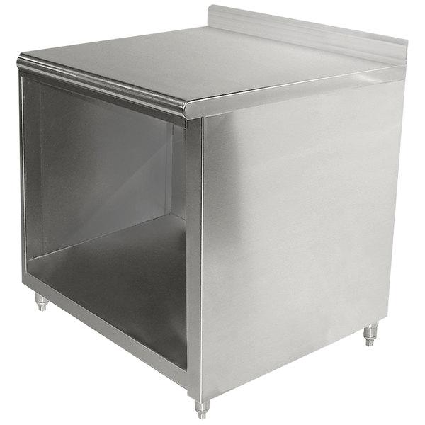 "Advance Tabco EK-SS-363 36"" x 36"" 14 Gauge Open Front Cabinet Base Work Table with 5"" Backsplash"