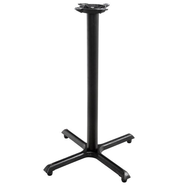 """Lancaster Table & Seating 30"""" x 30"""" Black 3"""" Bar Height Column Table Base with FLAT Tech Equalizer Table Levelers Main Image 1"""