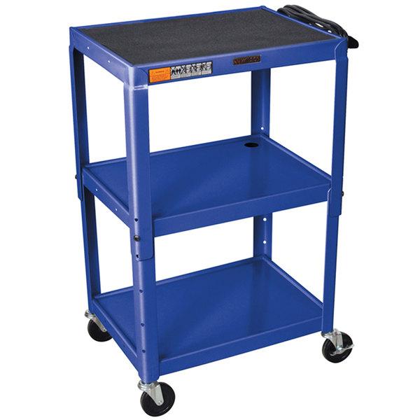 "Luxor W42ABUE Topaz Blue Metal 3 Shelf A/V Utility Cart 18"" x 24"" x 42"" - Adjustable Height"