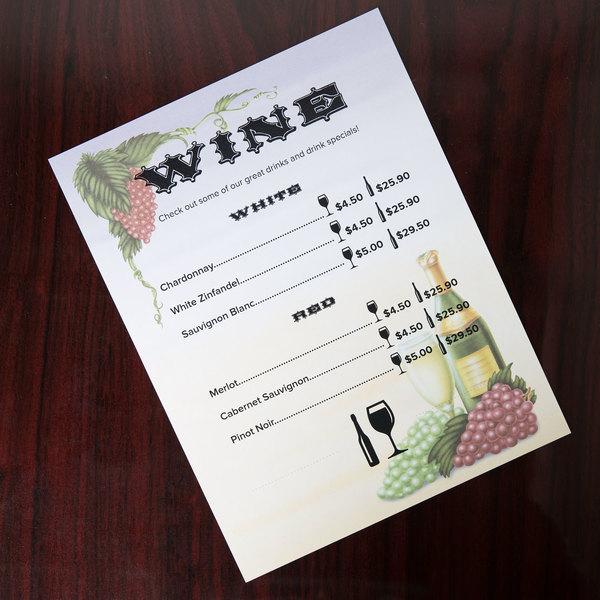"8 1/2"" x 11"" Menu Paper - Wine Setting Themed Grapevine Design Cover - 100/Pack"