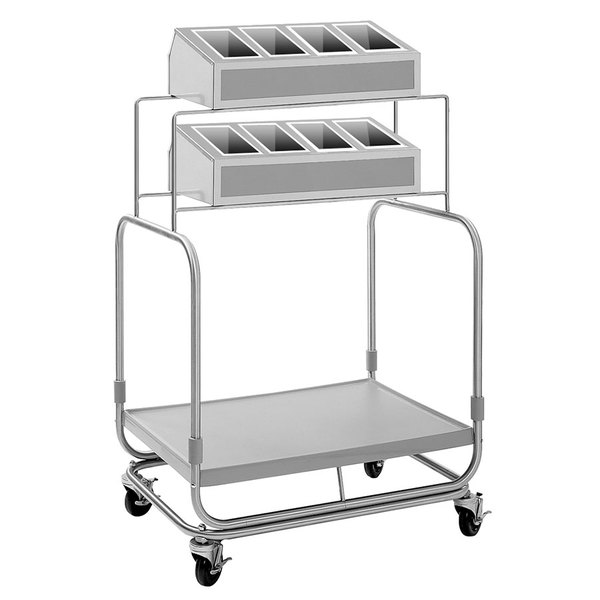 Delfield UTSP-2SS Tray and Silverware Cart with 8 Silverware Pans and Stainless Steel Tray Shelf Main Image 1