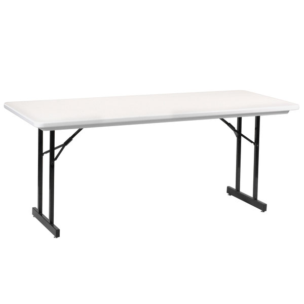 "Correll R3072TL-AM-23 30"" x 72"" Gray Granite Antimicrobial Plastic Folding Table with T-Legs Main Image 1"