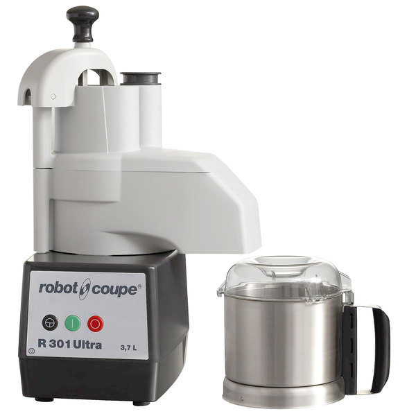 Robot Coupe R301 Ultra Combination Continuous Feed Food Processor with 3.5 Qt. Stainless Steel Bowl - 1 1/2 hp