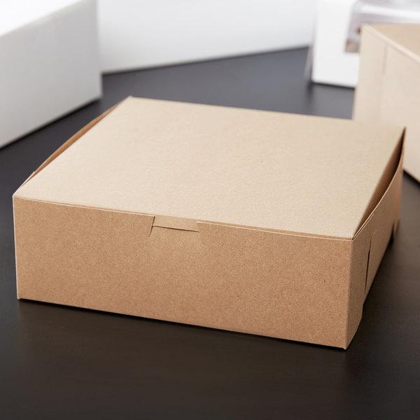 "8"" x 8"" x 3"" Kraft Pie / Bakery Box - 10/Pack"