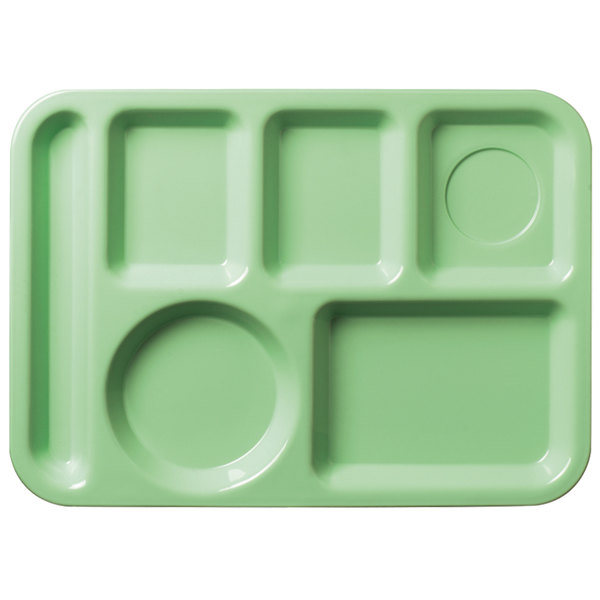 """Carlisle 61409 10"""" x 14"""" Green ABS Plastic Left Hand 6 Compartment Tray"""