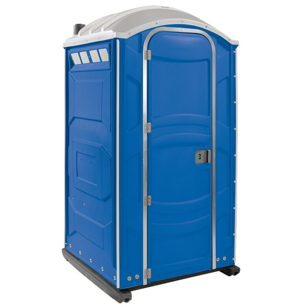 PolyJohn PJN3-1001 Blue Portable Restroom with Translucent Top - Assembled Main Image 1