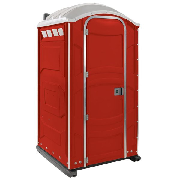 PolyJohn PJN3-1013 Red Portable Restroom with Translucent Top - Assembled