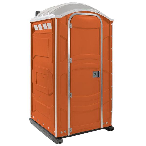 PolyJohn PJN3-1011 Orange Portable Restroom with Translucent Top - Assembled Main Image 1