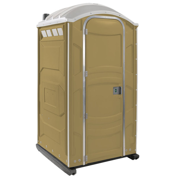 PolyJohn PJN3-1006 Tan Portable Restroom with Translucent Top - Assembled Main Image 1