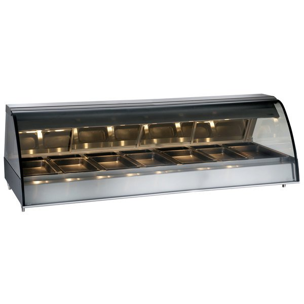 """Alto-Shaam TY2-96/PR SS Stainless Steel Countertop Heated Display Case with Curved Glass - Right Self Service 96"""""""