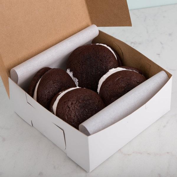 "7"" x 7"" x 3"" White Cake / Bakery Box - 10/Pack Main Image 5"