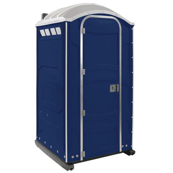 PolyJohn PJN3-1016 Dark Blue Portable Restroom with Translucent Top - Assembled Main Image 1