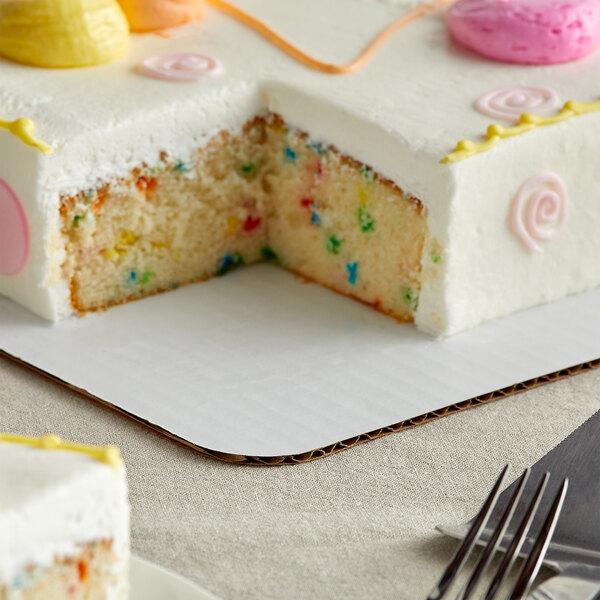 "Baker's Mark 25 1/2"" x 17 1/2"" White Corrugated Grease-Resistant Full Sheet Cake Pad - 10/Pack Main Image 4"