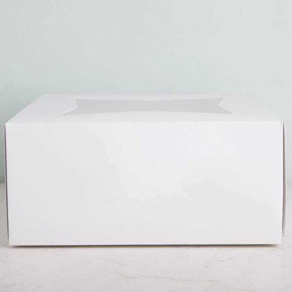 "9"" x 9"" x 4"" White Auto-Popup Window Cake / Bakery Box - 10/Pack Main Image 4"