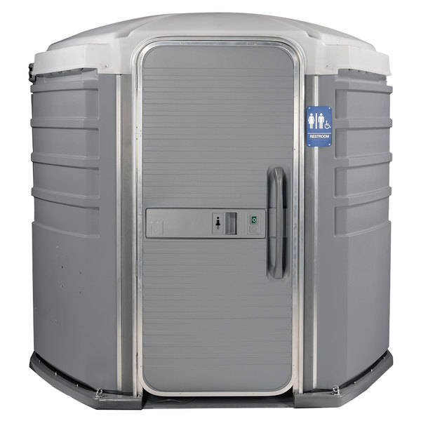 PolyJohn SA1-1005 We'll Care III Pewter Wheelchair Accessible Portable Restroom - Assembled