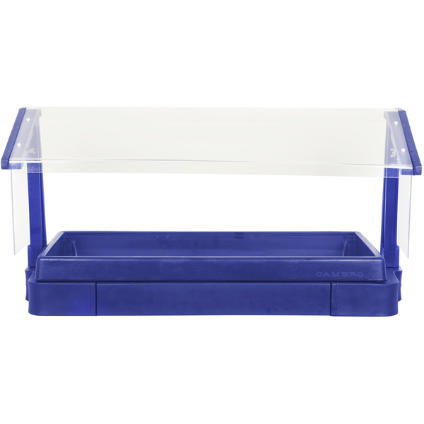"""Cambro BBR720186 74"""" x 24"""" x 25"""" Navy Blue Buffet / Salad Bar with Free Standing Sneeze Guard"""