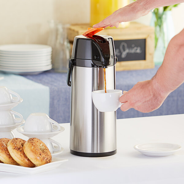Choice 2.2 Liter Glass Lined Stainless Steel Decaf Airpot with Lever Main Image 3