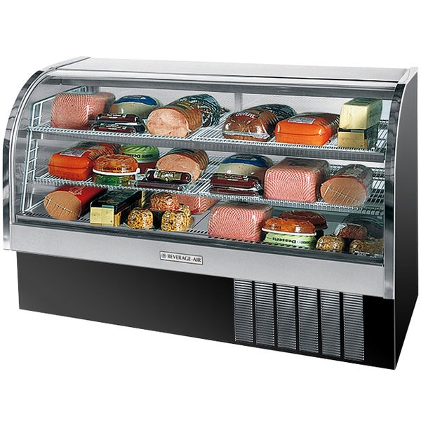 "Beverage Air CDR6/1-B-20 Black Curved Glass Refrigerated Bakery Display Case 73"" - 27.6 Cu. Ft."