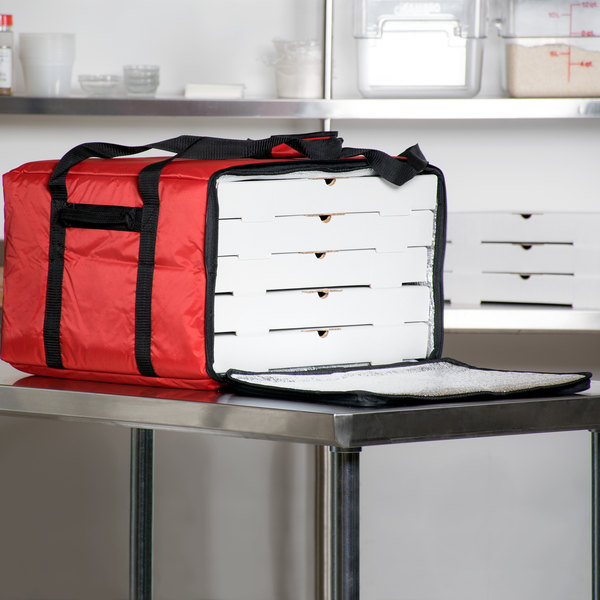 """Insulated Pizza Delivery Bag, Red Nylon, 20"""" x 20"""" x 13"""""""