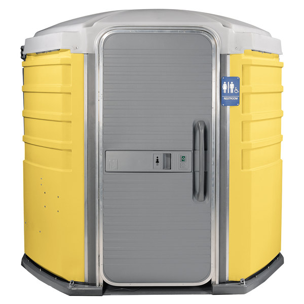 PolyJohn SA1-1009 We'll Care III Yellow Wheelchair Accessible Portable Restroom - Assembled