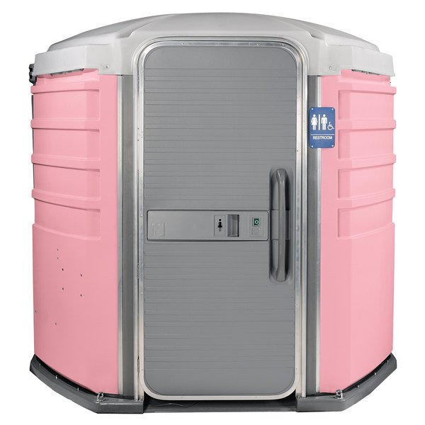 PolyJohn SA1-1012 We'll Care III Pink Wheelchair Accessible Portable Restroom - Assembled