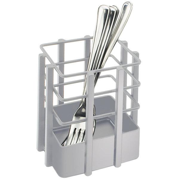 "Cal-Mil 1544-74 Soho Silver Single Slot Metal Flatware Organizer - 4"" x 4"" x 4 1/2"""