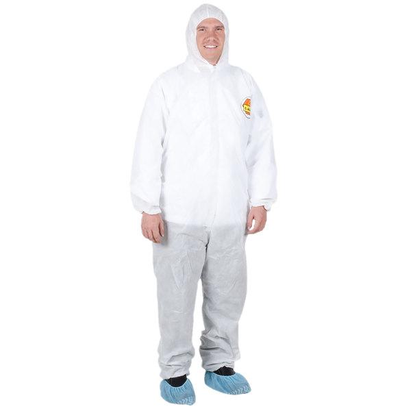 Premium White Disposable Polypropylene Coveralls with Hood - Medium