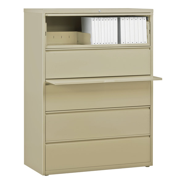 Hirsh Industries 17648 Putty Five-Drawer Lateral File Cabinet with Roll Out Binder Storage - 42 inch x 18 5/8 inch x 67 5/8 inch