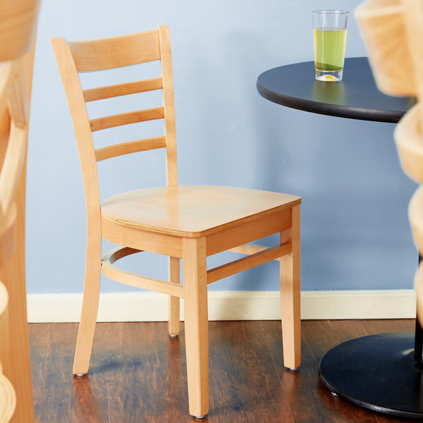 Lancaster Table & Seating Natural Finish Wooden Ladder Back Cafe Chair Main Image 4