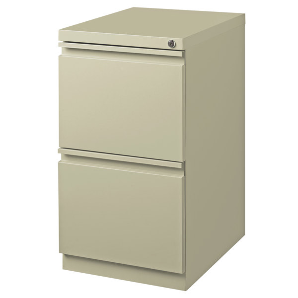 Hirsh Industries 18577 Putty Mobile Pedestal Letter File Cabinet with 2 File Drawers - 15 inch x 19 7/8 inch x 27 3/4 inch