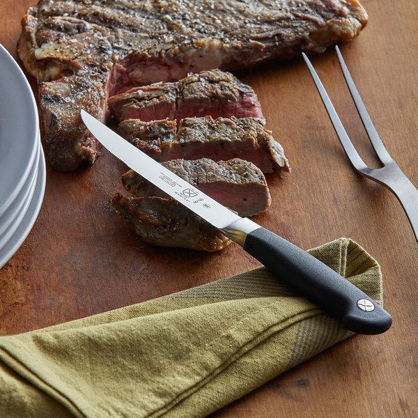 "Mercer Culinary M21921 Genesis® 5"" Forged Serrated Steak Knife with Santoprene Handle Main Image 2"