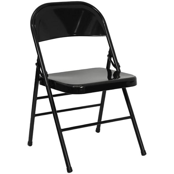 Flash Furniture HF3-MC-309AS-BK-GG Black Metal Folding Chair