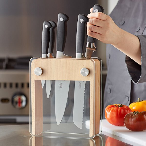 Mercer Culinary M20050 Genesis® 6-Piece Wood / Glass Knife Block Set Main Image 2