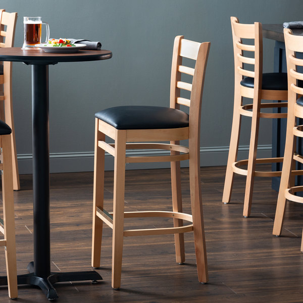 Detached Seat Lancaster Table & Seating Natural Ladder Back Bar Height Chair with Black Padded Seat