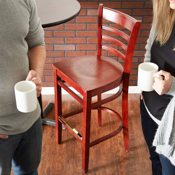 Detached Seat Lancaster Table & Seating Mahogany Finish Wooden Ladder Back Bar Height Chair