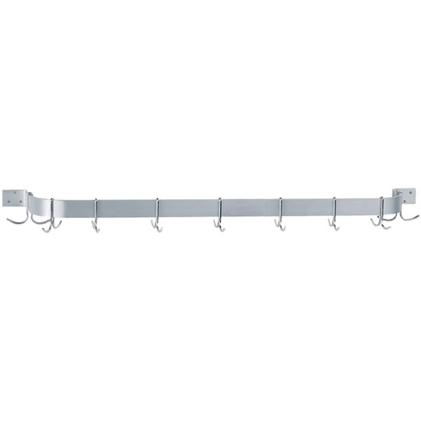"Advance Tabco SW1-84 84"" Stainless Steel Wall Mounted Single Line Pot Rack with 9 Double Prong Hooks Main Image 1"