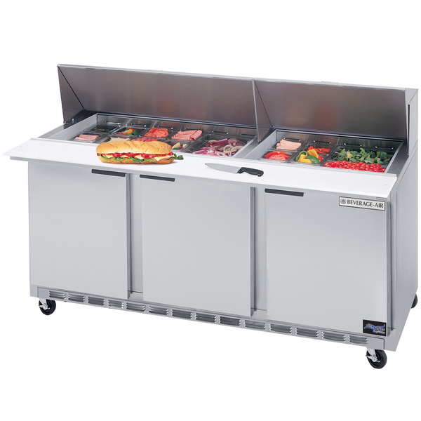 Beverage-Air SPE72-30M 72 inch Mega Top Three Door Refrigerated Salad / Sandwich Prep Table