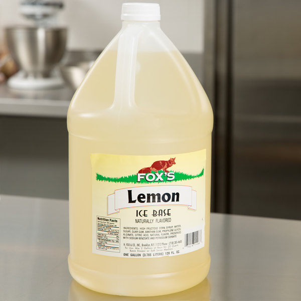 Fox's 1 Gallon Lemon Italian Ice Syrup Base - 4/Case