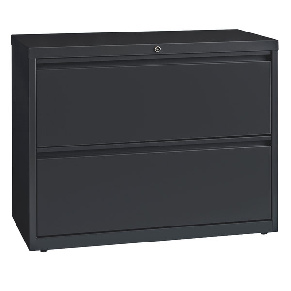 Hirsh Industries 17631 Charcoal Two-Drawer Lateral File Cabinet - 36 inch x 18 5/8 inch x 28 inch