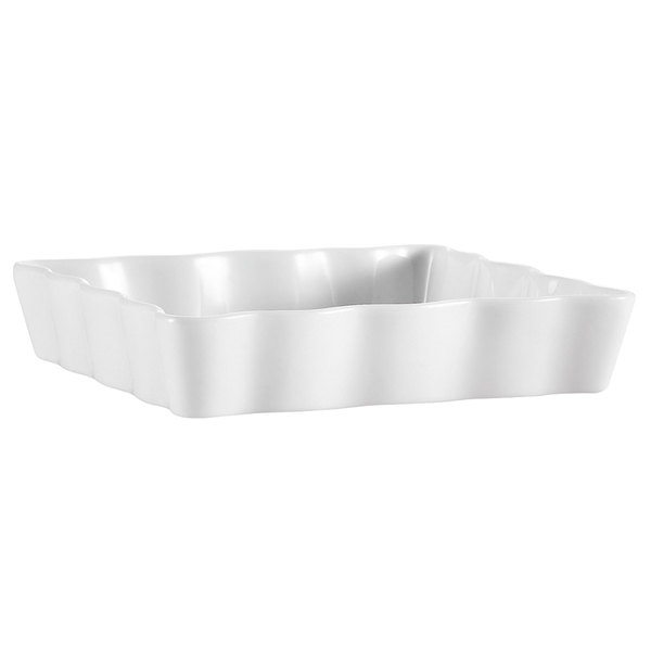 "CAC QCD-RT7 White Rectangular Fluted Quiche Dish 7"" x 4 1/2"" - 36/Case"