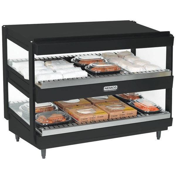 "Nemco 6480-36-B Black 36"" Horizontal Double Shelf Merchandiser - 120V"